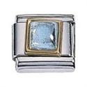 Afbeelding van Zoppini - 9mm - synthetische steen vierkant licht blauw