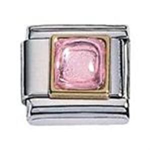 Afbeelding van Zoppini - 9mm - synthetische steen vierkant rose