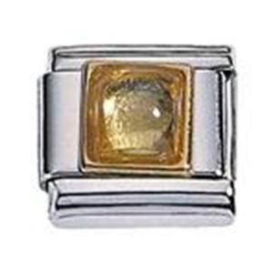 Afbeelding van Zoppini - 9mm - synthetische steen vierkant geel